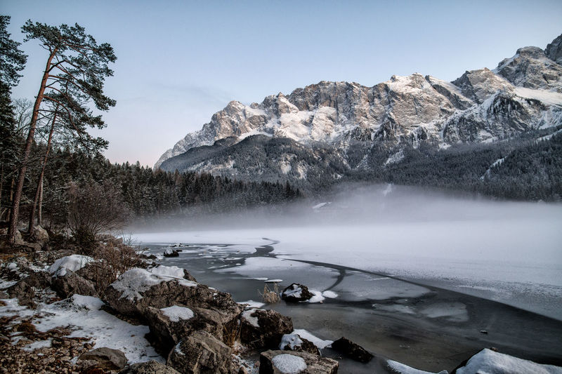 Bavaria Eibsee Ice Winter Wintertime Alps Germany Lake Lake View Mountains Outdoors Snow