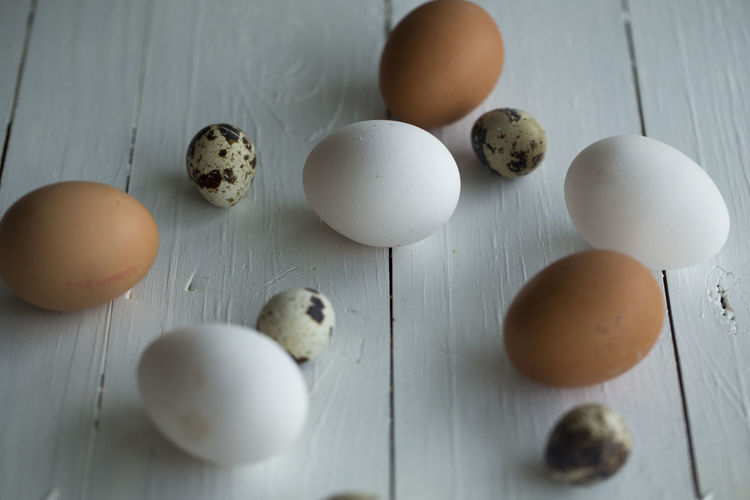 Chicken Quail Eggs Brown Close-up Day Egg Egg Yolk Eggshell Food Food And Drink Fragility Freshness Healthy Eating High Angle View Indoors  No People Quail Raw Food Table
