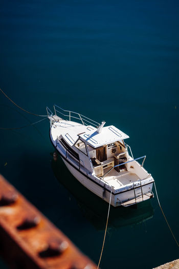 High Angle View Of Moored Yacht