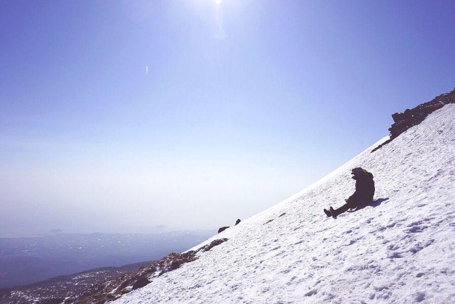 겨울산 등산 백록담 제주도 한라산  눈꽃 설원