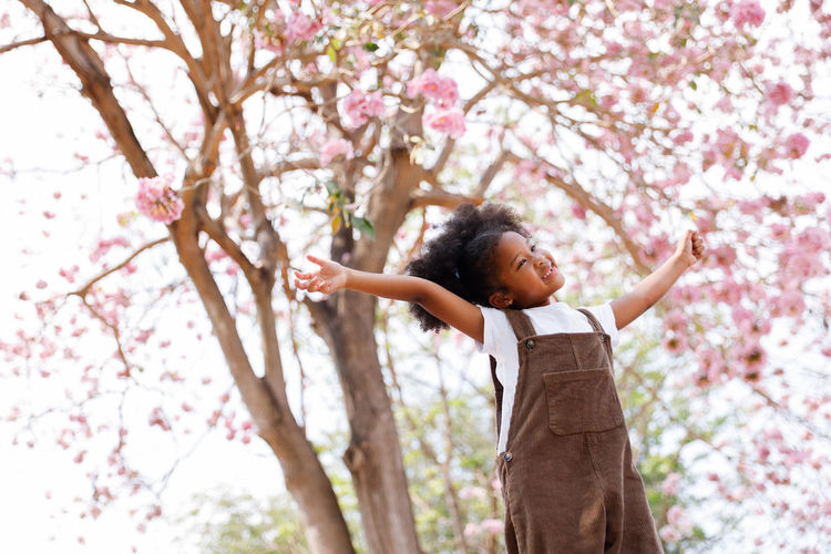 Low angle view of child standing on pink flowering tree
