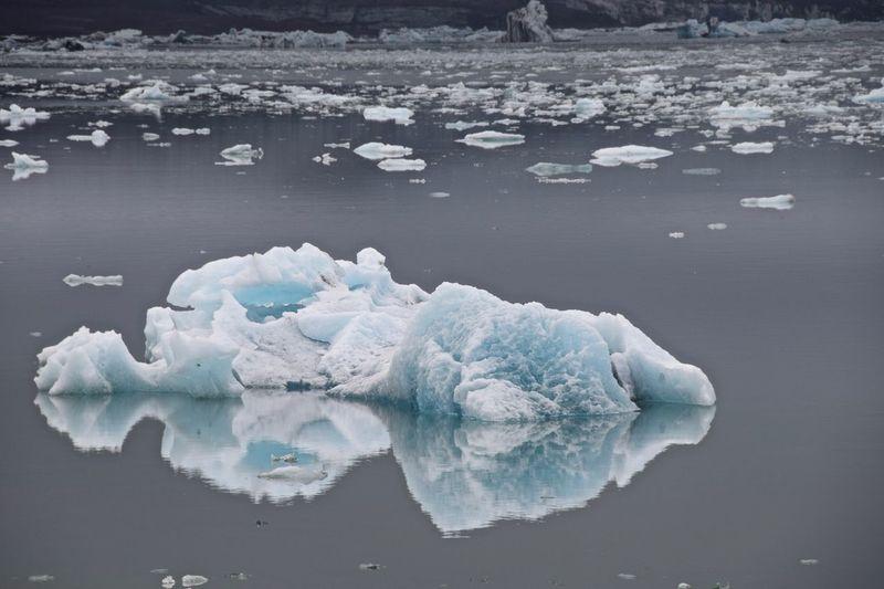 High Angle View Of Glaciers On Lagoon