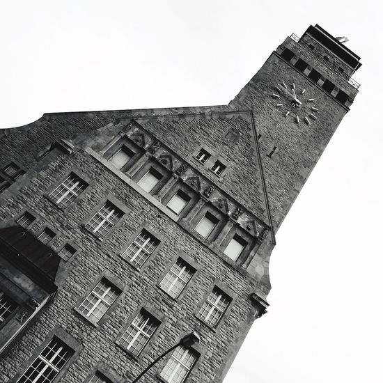 Architecture Building Exterior Built Structure Low Angle View No People Outdoors Clear Sky Blackandwhite Germany Berlin Neukölln Karl-marx-straße City Hall Discover Berlin Black And White Friday