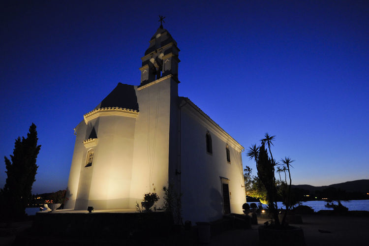 Tourist Attraction  Travel Architecture Blue Blue Sky Building Exterior Built Structure Clear Sky Corfu Greece Ionian Islands Island Low Angle View Night No People Outdoors Place Of Worship Religion Sky Spirituality Sunset Tourism Travel Destinations