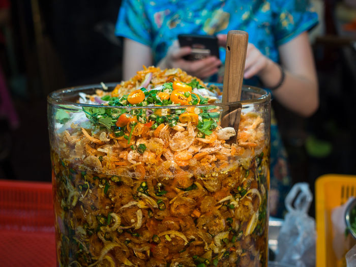 Close-Up Of Pickled Shrimp In Chinatown, Bangkok, Thailand