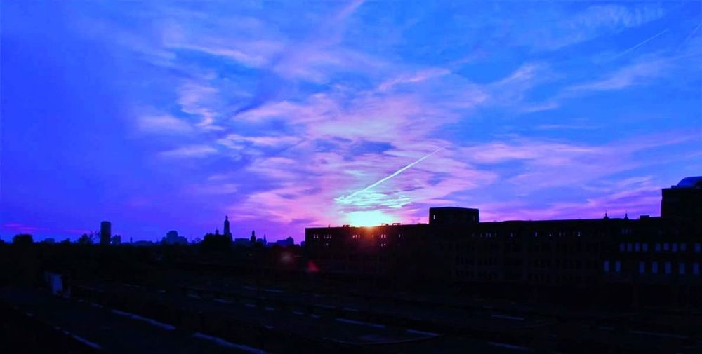 Sun set at Buffalo Central Terminal Sky Cloud - Sky Night Outdoors No People Built Structure Building Exterior Sunset Tranquility Multi Colored Buffalo,ny Train Station Architecture