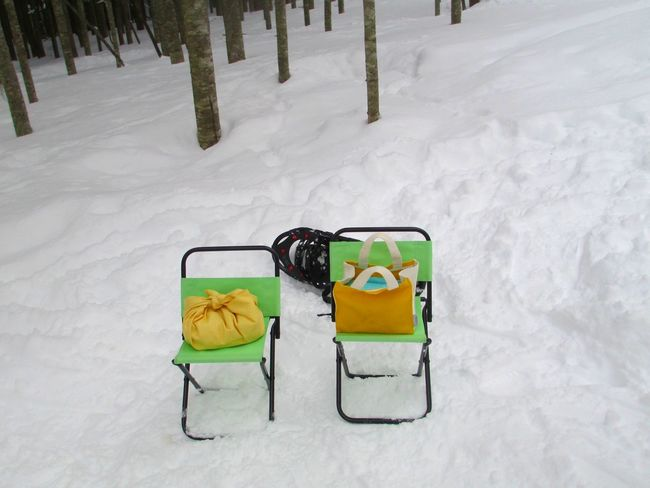 Two green folding chairs set up in the snow. Absence Covering Day Empty Green Chairs Lawn Chairs Nature No People Outdoors Season  Snow Stationary Weather White Ultimate Japan