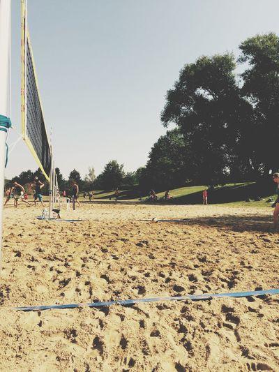 Summer Beach Volleyball Matches Sport Sunshine Playground People Heat Sand