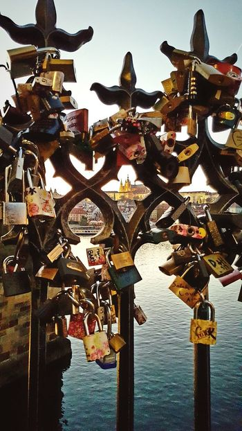 No People Outdoors Hanging Water Lock Padlock Day Travel Destinations Close-up Sunset_collection Architecture Clear Sky Prague Cityscape Sunset Karlův Most Charlesbridge Charles Bridge Prague Castle See Through