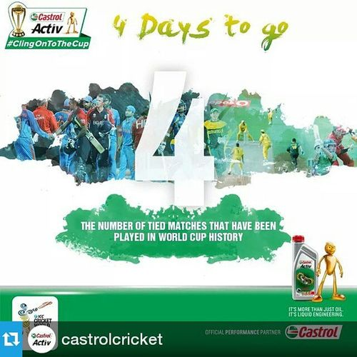 Repost @castrolcricket ・・・ South Africa have been involved in two tied matches in World Cup history and were knocked out of the tournament on both occasions. Can their luck change this time around? ‪‎ClingOnToTheCup‬ Cricket CricketFanatics InstaCricket India Zimbabwe SouthAfrica Australia Ireland SriLanka Countdown CWC2015