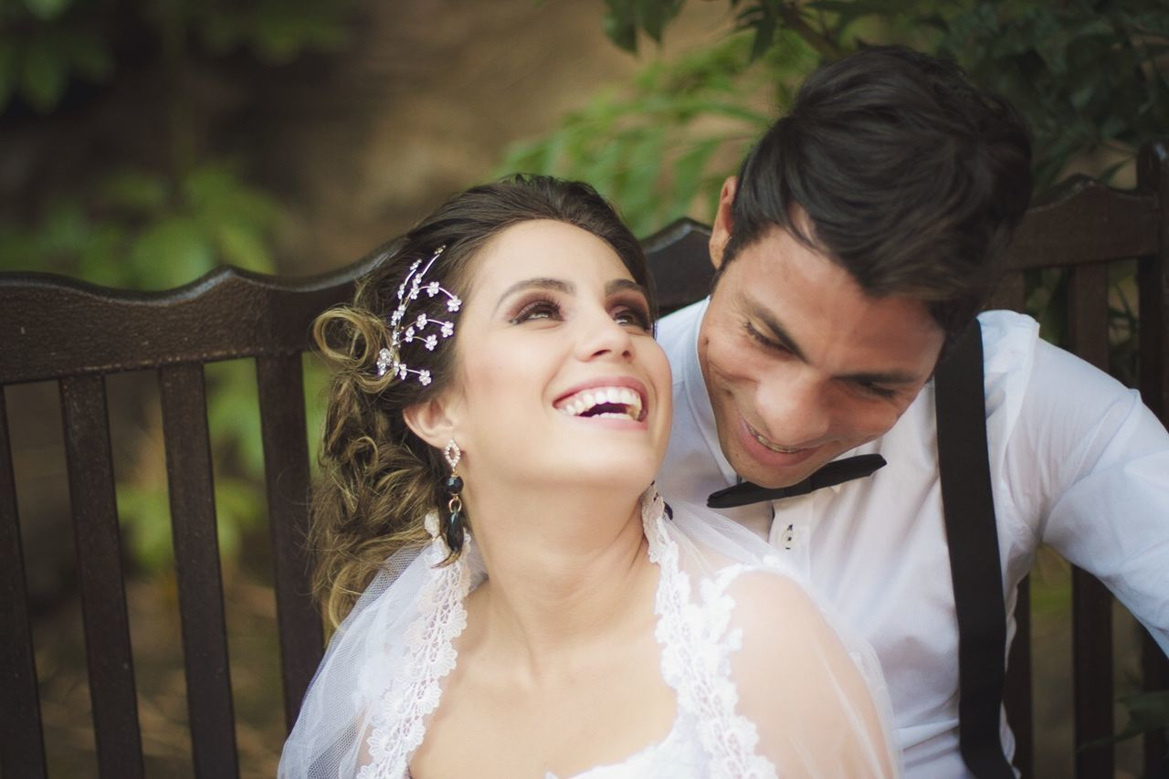 love, wedding, togetherness, young adult, young women, happiness, two people, real people, romance, smiling, bride, heterosexual couple, lifestyles, young men, wedding dress, celebration, leisure activity, cheerful, day, bridegroom, young couple, outdoors, couple - relationship, beautiful woman, bonding, well-dressed, groom