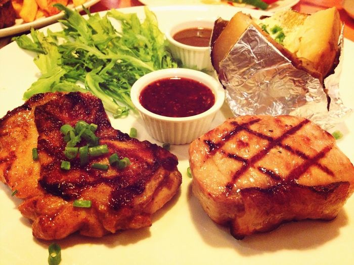 spicy grilled chicken and pork steak ;p