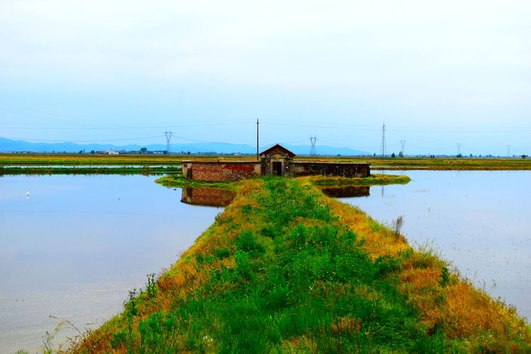 Scenic view of river by field against sky