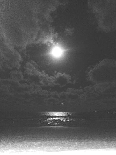 Moonlight Moon Beach Monochrome
