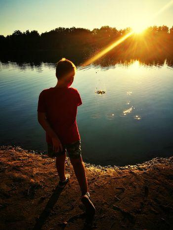 Water Sunset Standing Lake Sunlight Full Length Reflection Men Sky