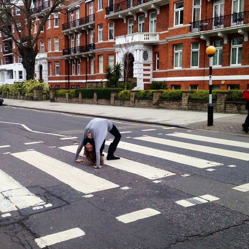 I'm head over heels in love with The Beatles.❤️ Street Abbey Road Thebeatles Photography Myself Backbend Love London Traveling World Tourism