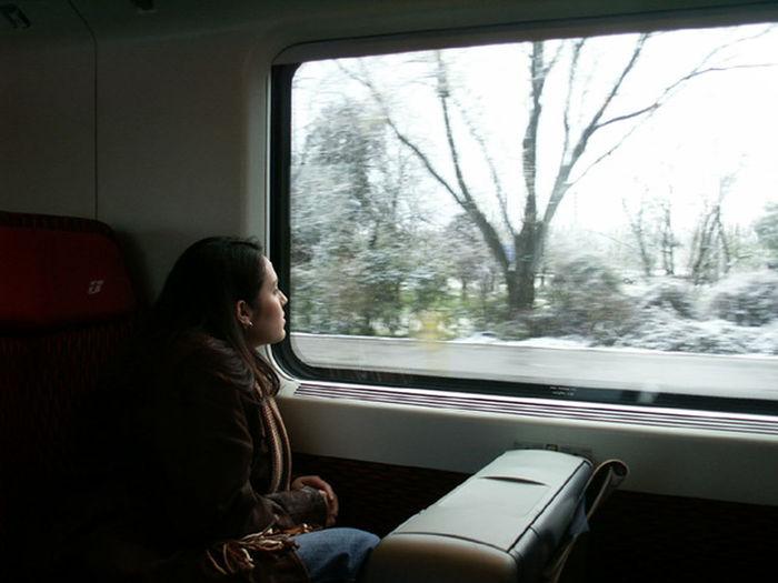 Woman sitting in car window