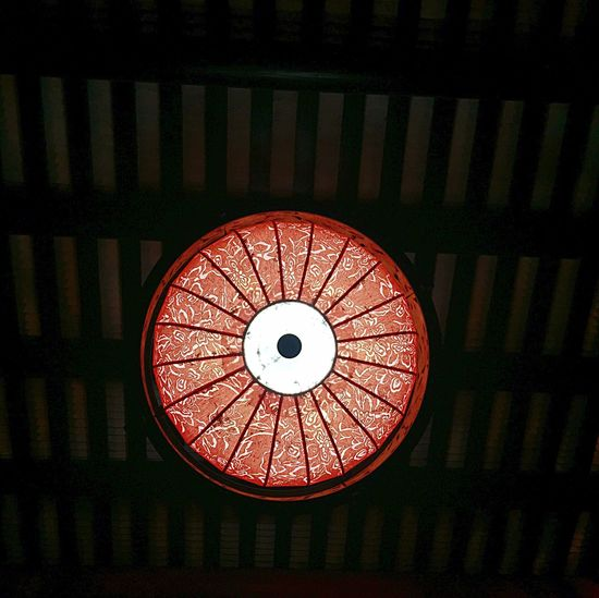 Lighting Equipment Low Angle View Ceiling Illuminated Hanging Indoors  Close-up Red Directly Below Electricity  Light - Natural Phenomenon Geometric Shape Electric Light Pendant Light Circle Lantern Glowing Hanging Light Decoration TakeoverContrast Lit EyeEm Best Shots EyeEm Gallery