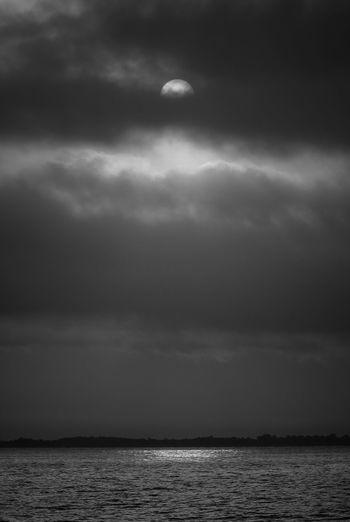 Dark Sun Darksunset Monochrome Blackandwhite Fisherman Fredom Cloud - Sky Darkness Darksky Water Sea Astronomy Cloud - Sky Landscape