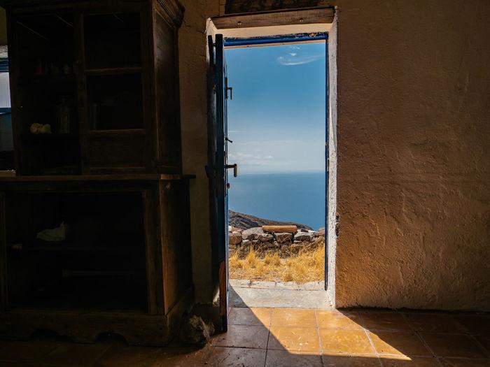 Canary Islands Idyllic Scenery Tranquil Scene Tranquility Seima Beauty In Nature Shadows & Lights Blue Sky View Cloud - Sky La Gomera Water Sea Door Frame Sky Open Door Front Door