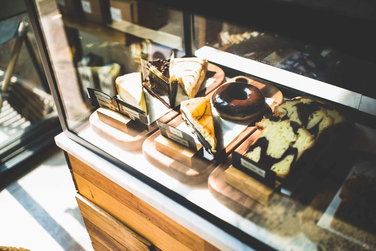High angle view of ice cream on table at store