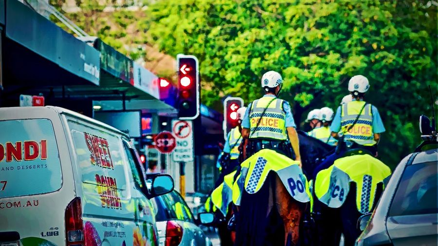 Police on horseback Crown st Sydney Australia Working Horse NSW Police Australian Police Trained Horses Police Animals Police Horse Real People Group Of People Men Day Leisure Activity People Arts Culture And Entertainment Lifestyles City Architecture