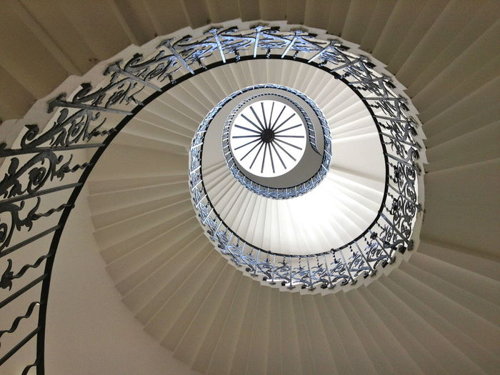 Tulip Staircase from Queens House Architecture Greenwich London Queens House Architecture Built Structure Day Directly Below England Geometric Shape Indoors  No People Railing Royal Palace Spiral Spiral Staircase Staircase Steps And Staircases Tulip Stairs White Background