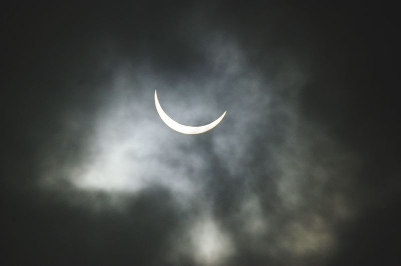 partial eclipse of the sun . Moon Sky Beauty In Nature Astronomy Cloud - Sky Eclipse Sun