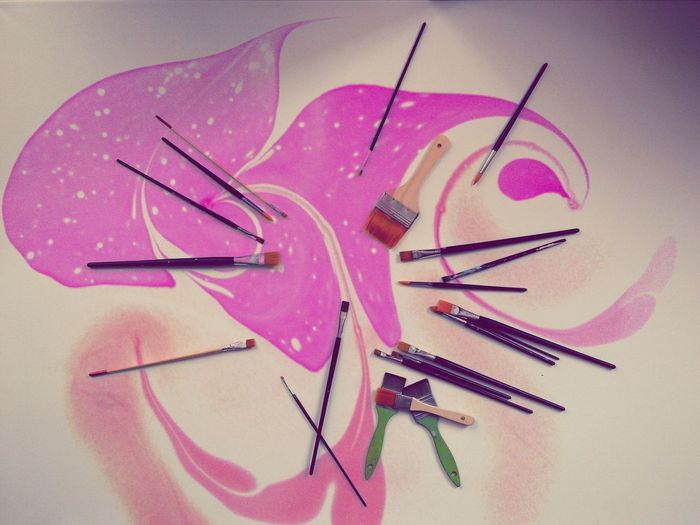Paint Brushes Painting Tools Messy Abstract Splash Of Colors Pink Color Abundance Vivid Art Creation Creativity Art Is Everywhere