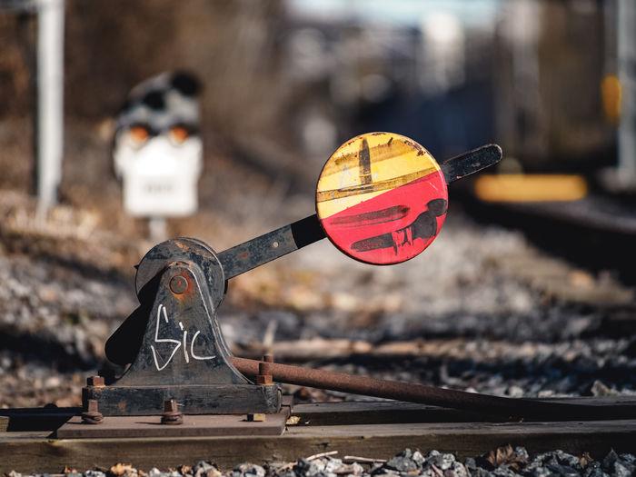 Close-up of railroad equipment