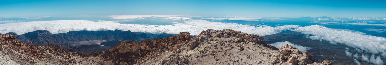 Panoramic view of clouds and mountains against sky