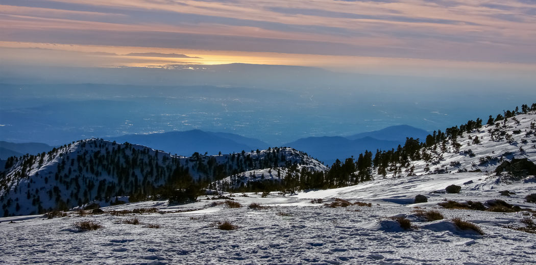 Sunset views of angeles national forest from mount baldy summit