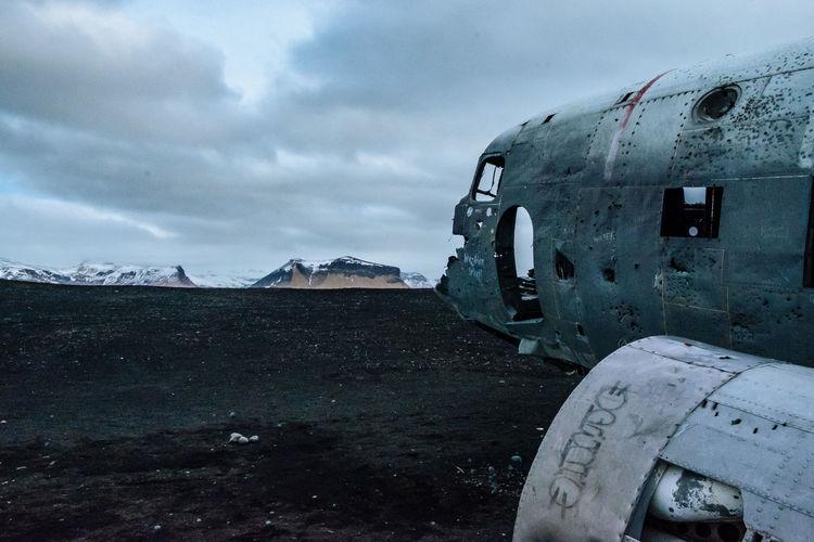 Solheimasandur plane crash against cloudy sky