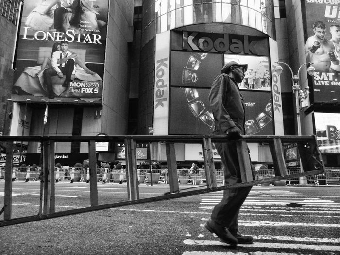 Worker ar Timessquare TimesSquare Manhattan New York City Streetphoto_bw Street Photography People Photography Portrait Of America Streetlife Worker Ladder