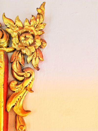 Sculpture Frame Corner Gold Sculpture Line Thai Art Style Asin Thailand Flower Head Studio Shot Close-up