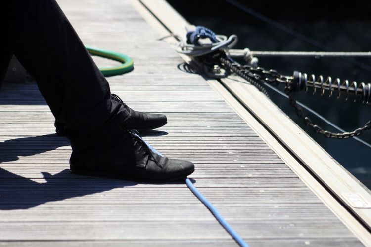 Low section of man on pier