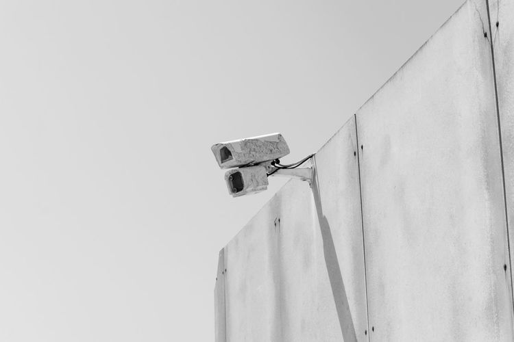 Black & White Black And White Blackandwhite Blackandwhite Photography Bnw Camera Close-up Eye4photography  EyeEm EyeEm Best Shots EyeEm Bnw EyeEmBestPics Hanging Light And Shadow Low Angle View Monochrome Outdoors Security Security Camera Security System Sky Wall