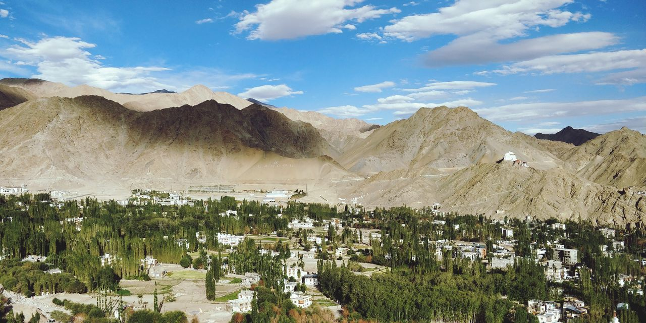 Leh Sky And Clouds Blue Sky Tree Nature Leh India Mountain Rural Scene Sky Landscape Cloud - Sky Plant Mountain Range Rocky Mountains Arid Landscape Mountain Road Geology Arid Climate Blooming Sand Dune