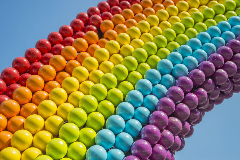 Detail of a rainbow made of balls, showing gay colors Multi Colored Large Group Of Objects Abundance No People Close-up Gay Pride Gay Colours Gay Parade   Gay Gay Rights Rainbow Colors Gay Rainbow Vibrant Color Lgbt LGBT Rainbows Lgbt ❤️ Lgbtq