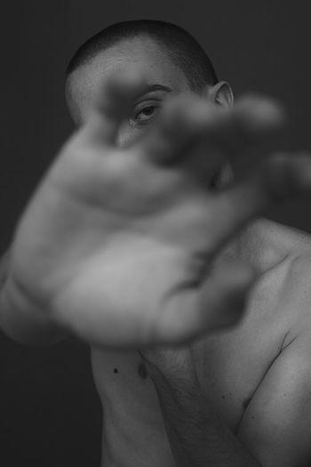 Model Blackandwhite Hand Portrait Beautiful Woman Young Women Beauty Shirtless Studio Shot Looking At Camera Close-up Human Skin Human Body The Week On EyeEm Editor's Picks