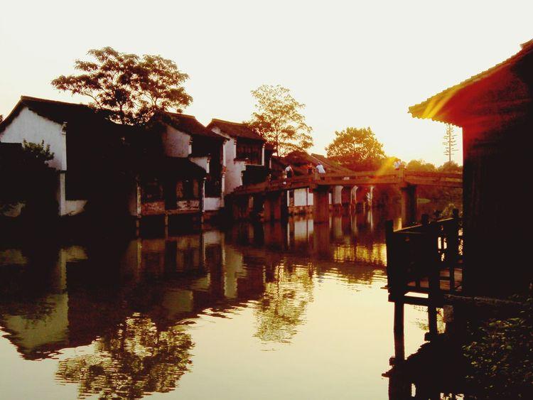 Wuzhen Village Sunset Landscape Wuzhen Waterfront Scenery Cellphone Photography Reflection