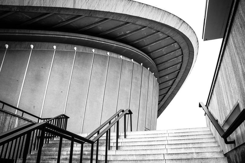 Haus der Kulturen Architecture Berlin Black And White Bridge - Man Made Structure Built Structure Ceiling Diminishing Perspective Geländer Haus Der Kulturen Der Welt Kongresshalle Metal Modern Railing Staircase Stairs Steps Steps And Staircases The Way Forward
