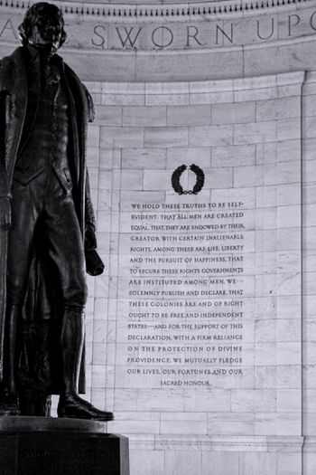 I took this photo a few years ago while visiting Washington, DC. It is from the Jefferson Memorial. Happy Independence Day, America!🇺🇸🗽🦅 Declaration Of Independence Independence Day America USA Thomas Jefferson Memorial Thomas Jefferson Historical Monuments History Washington, D. C. Freedom Freedom Is Not Free Statue Text Monument Architecture Day No People Indoors  Light And Shadow Composition Blackandwhite From My Point Of View EyeEm Selects