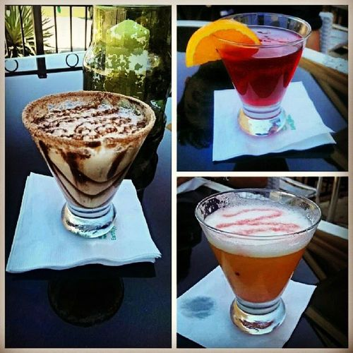 Enjoying the 21+ life!! Left: Snickers, Top Right: Pomtini, Bottom Right: Pineapple Upside-down Martini 21 Gruene Texas