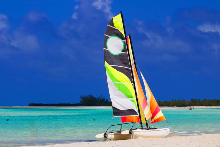 Colorful catamaran on the beach by the Caribbean ocean Catamaran Beach Beauty In Nature Blue Catamaranboat Cloud - Sky Day Flag Horizon Over Water Land Multi Colored Nature Nautical Vessel No People Outdoors Sailboat Scenics - Nature Sea Sky Tranquil Scene Tranquility Transportation Water Wind