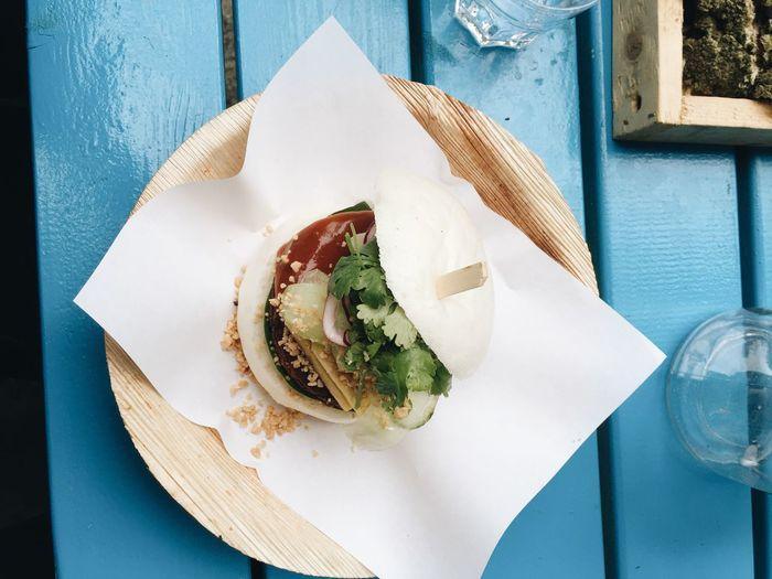 Close-up high angle view of hamburger