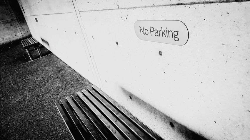 No Parking Sign Bench Black And White Art Museum