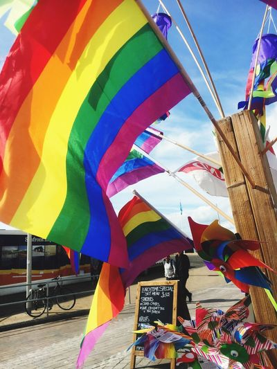 Brighton Multi Coloured Multi Colored Day Large Group Of Objects Hanging Rainbow🌈 Gay Pride Rainbow Rainbow Gay Rights Lesbian Pride Gay Pride Flag Cloud - Sky Flag