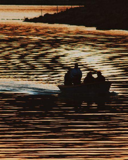 Sunset. Water. Nature Sky Nautical Vessel Lake Sunset