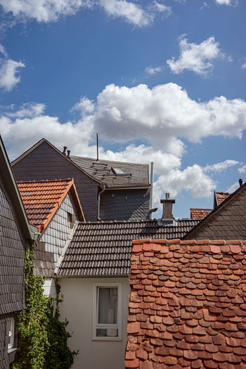 Architecture Building Exterior Built Structure Roof Building Cloud - Sky House Sky Residential District Day Roof Tile No People Nature Window Outdoors City Wall Brick Brick Wall Low Angle View Über Den Dächern Von... Marburg Oberstadt Verwinkelte Ansichten